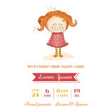 Baby Girl Arrival Card Royalty Free Stock Images