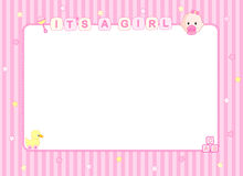 Baby Girl Arrival Card / Background Stock Photo