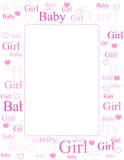 Baby girl arrival card / background. Cute pink frame / border with baby girl text and heart Royalty Free Stock Images
