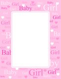 Baby Girl Arrival Card / Background Stock Images