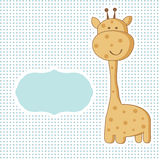 Baby girl arrival card. Baby boy arrival card with cute giraffe on polka dot seamless pattern royalty free illustration