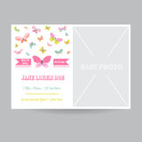 Baby Girl Arrival Card with a Butterfly Theme - with Place for Photo Royalty Free Stock Image