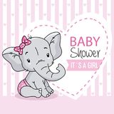Baby girl arrival card. cute baby elephant. Space for text stock illustration