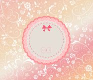 Baby girl arrival card. Baby girl arrival floral card with label Stock Photos
