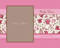 Baby Girl Arrival Card with Frame Royalty Free Stock Images