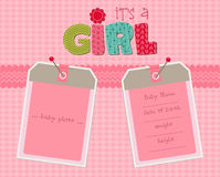 Baby Girl Arrival Card with frames royalty free illustration