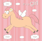 Baby girl arrival card with horse Stock Photography