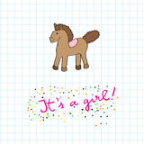 Baby girl arrival card with horse Stock Photo