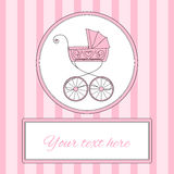 Baby girl arrival card or invitation with retro styled baby carriage and place for text, vector illustration Stock Photos