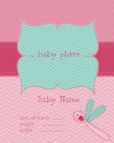 Baby Girl Arrival Card with Photo Frame. In Royalty Free Stock Images