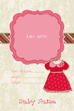 Baby Girl Arrival Card with Photo Frame. Beautiful Baby Girl Arrival Card with Photo Frame and lovely dress Stock Images
