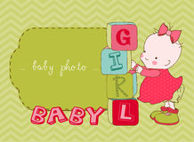 Baby Girl Arrival Card with Photo Frame Royalty Free Stock Image