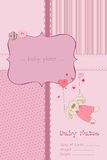 Baby Girl Arrival Card with Photo Frame. Wonderful Baby Girl Arrival Card with Photo Frame and place for your text in  with cute rabbit Royalty Free Stock Photos