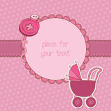 Baby Girl Arrival Card with Photo Frame Royalty Free Stock Photo