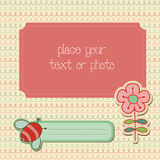 Baby Girl Arrival Card with Photo Frame Stock Images
