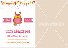Baby Girl Arrival Card Stock Photos