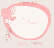 Baby Girl Arrival Card With PhotoFrame Royalty Free Stock Image