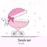 Baby girl arrival greeting cad with baby stroller stock illustration