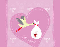 Baby girl arrival greeting card Royalty Free Stock Images