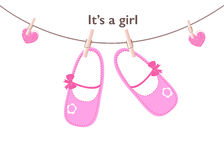 Baby girl arrival greeting card. Baby shoes vector background Stock Image