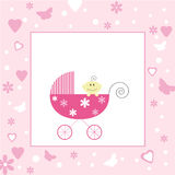 Baby Girl Arrival (Open Space For Your Text). Baby Girl in a buggy with open space for your text Royalty Free Stock Photography