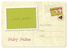 Baby Girl Arrival Postcard Royalty Free Stock Image