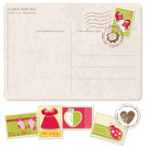 Baby Girl Arrival Postcard with set of stamps Stock Photo