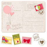 Baby Girl Arrival Postcard with set of stamps Stock Image