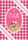 Baby girl arrival, shower, Greeting, announcement card with teddy bear and hearts. Vector postcard, Embroidery stylization Stock Photos