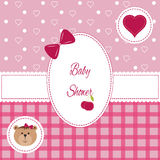 Baby girl arrival, shower, Greeting, announcement card with teddy bear and hearts. Vector postcard Royalty Free Stock Image