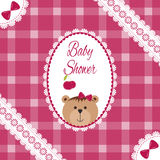 Baby Girl Arrival, Shower, Greeting, Announcement Card With Teddy Bear And Hearts. Vector Postcard, Embroidery Stylization Royalty Free Stock Images