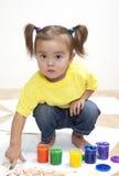 Baby girl artist royalty free stock photos