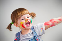 Baby girl artist Royalty Free Stock Image