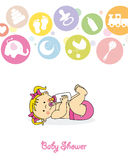 baby girl with baby bottle royalty free illustration