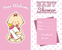 Baby girl with baby bottle vector illustration