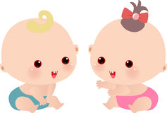 Baby girl and baby boy Stock Photography