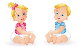 Baby girl and baby boy Royalty Free Stock Photography