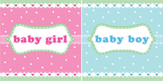 Baby girl and baby boy card Stock Photography