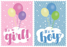 Baby girl and baby boy card Royalty Free Stock Image