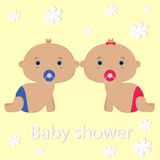 Baby girl and baby boy Royalty Free Stock Images