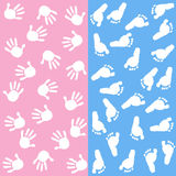 Baby girl baby boy hand foot prints vector background Royalty Free Stock Photo