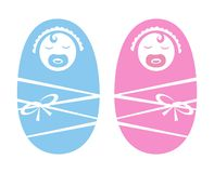 Baby girl & baby Boy icons Royalty Free Stock Images