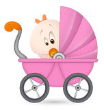 Baby Girl in Baby Carriage. Conceptual Design Art of Baby Girl in Baby Carriage Royalty Free Stock Image