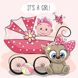 Baby girl with baby carriage and teddy bear Royalty Free Stock Photography