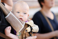 Baby girl in a baby carrier Royalty Free Stock Photo