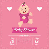 Baby girl of baby shower card design. Baby girl icon. Baby shower card and childhood theme. Colorful design. Vector illustration Royalty Free Stock Images