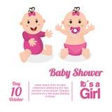 Baby girl of baby shower card design Stock Image
