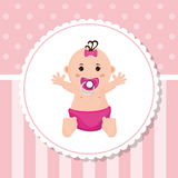Baby girl of baby shower card design Royalty Free Stock Photo
