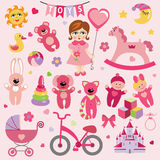 Baby girl with Baby toy  icons.eps. A set of cute toys icons for little Baby girl.Cartoon Baby  girl with a balloon in the shape of a heart.Vector design Royalty Free Stock Image