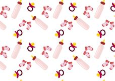 Baby girl background. Abstract seamless background with bay stuff: bottle, socks, pacifier Royalty Free Stock Images
